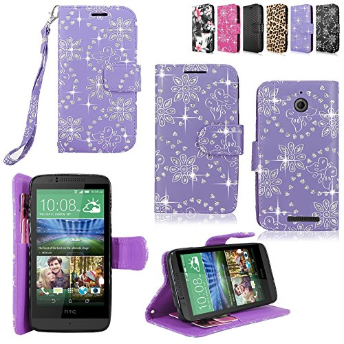 - Cellularvilla Pu Leather Wallet Card Flip Open Pocket Case Cover Pouch for HTC Desire 510 (Purple Glitter) ()