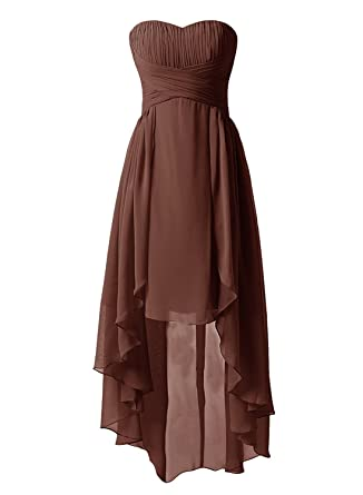 Victoria Prom Womens High Low Chiffon Prom Dresses Strapless Ruched Bridesmaid Gowns Brown US2
