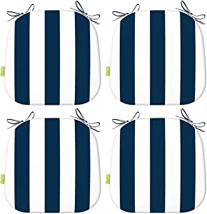 LVTXIII Outdoor Chair Cushions Set of 4, Patio Seat Cushions 16x17 Inch with Ties for Patio Furniture Chairs Home Garden Use, Cabana Navy