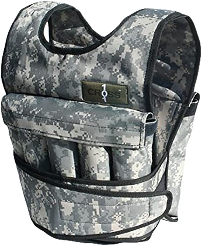 CROSS101 Adjustable Camouflage Weighted Vest Without Shoulder Pads