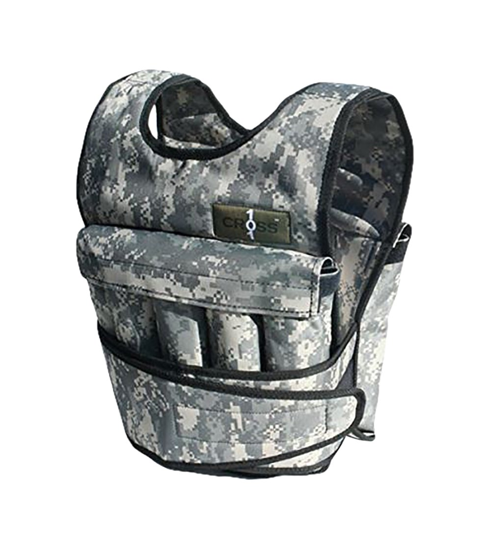 CROSS101 Adjustable Camouflage Weighted Vest Without Shoulder Pads, 40 lb
