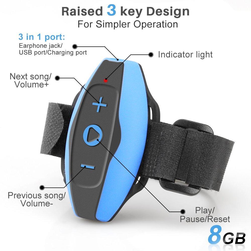 AGPTEK Acuatico Reproductor de MP3 Auriculares Impermeable E13