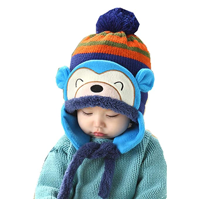 Amazon.com  Bomber Hat Autumn Winter Cartoon Monkey Cap Baby s Keep Warm  Bomber Hats Cute Knit Hat 1-4 Years Old  Clothing 1df7e6adf51