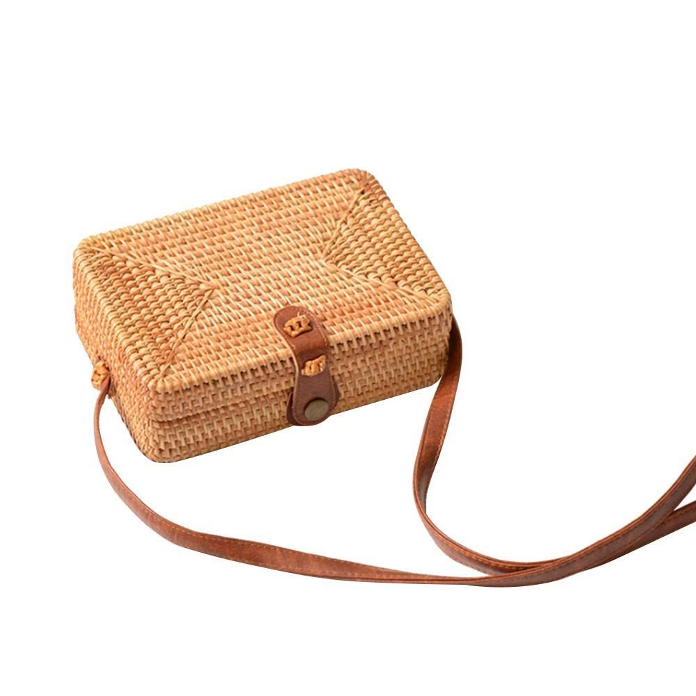 HOSPORT Exquisite Straw Bag Women Rattan Woven Shoulder Handbag Summer Beach Crossbody Bag