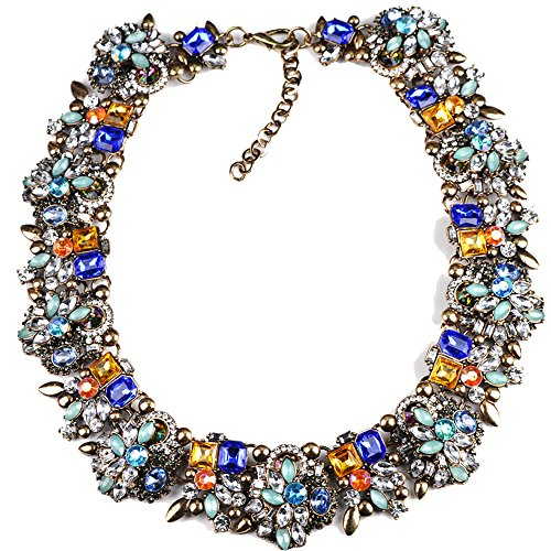 Running Bear Princess Costumes (Girl Era Charm Swarovski Elements Crystals Jewelry Gem Flower Necklace Bib Statement Collar for Womens(blue))