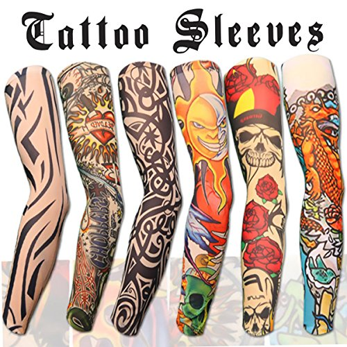 6pcs Set Arts Fake Temporary Tattoo Arm Sunscreen Sleeves - AKStore - Designs Tiger, Crown Heart, Skull, Tribal and Etc - Tattoo Arm