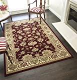 Rugs America New Vision Area Rug, 5-Feet 3-Inch by 7-Feet 10-Inch, Kashan Cherry For Sale