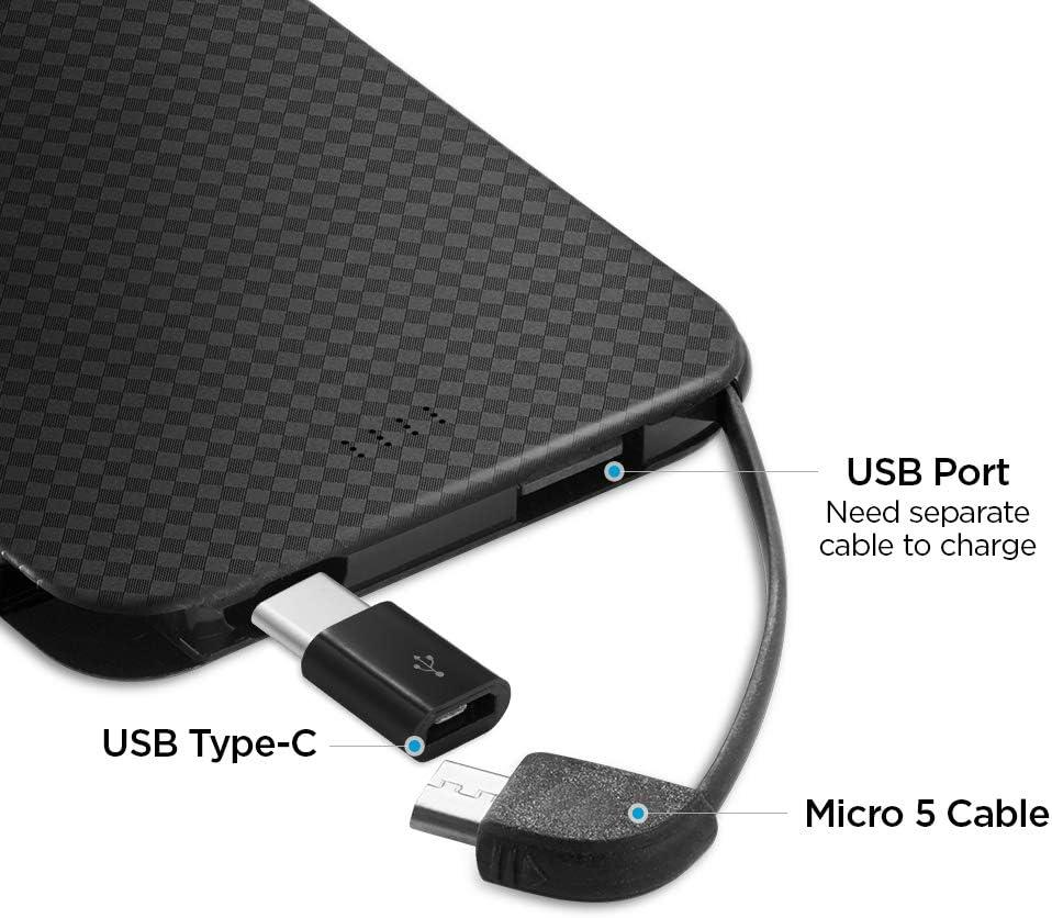 5000mah Power Bank C/âble Micro USB int/égr/é avec USB C et Port USB suppl/émentaire pour Galaxy Spigen Essential F706C Batterie Externe Noir Huawei et Plus Built-in Cable pour USB-C Smartphones