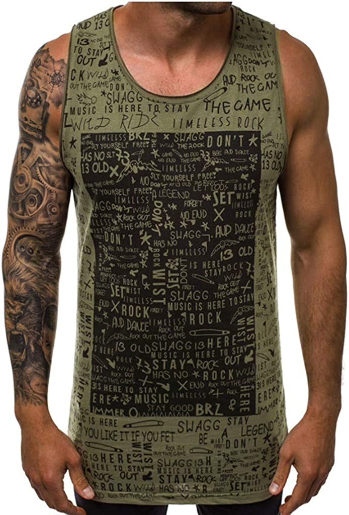 UULIKE Mens Sleeveless Vest Tank Tops Print Round Neck Slim Fit Singlet Blouse Casual Comfortable Breathable Cool Shirt Top Army Green,Black,Red,White