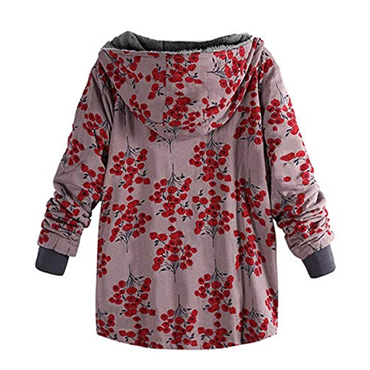 LUCKYCAT Womens Winter Warm Outwear con Estampado Floral Bolsillos ...