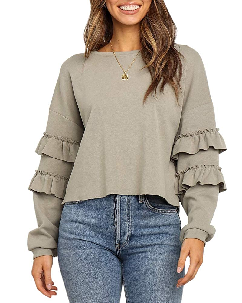 Womens Crew Neck Long Sleeve Sweatshirts Pullover Ruffle Casual Loose Solid Tops