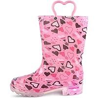 landchief Kids Light Up Rain Boots, Lightweight Rainboots with Easy-On Handles, Boys & Girls