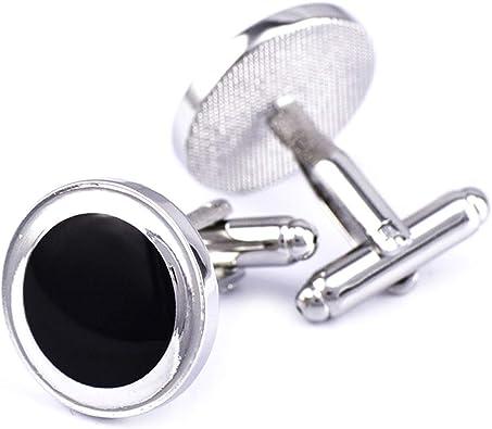 Daesar Gemelos de Camisa Redondo Gemelo Cobre Gemelos para Camisa Plata Negro: Amazon.es: Joyería