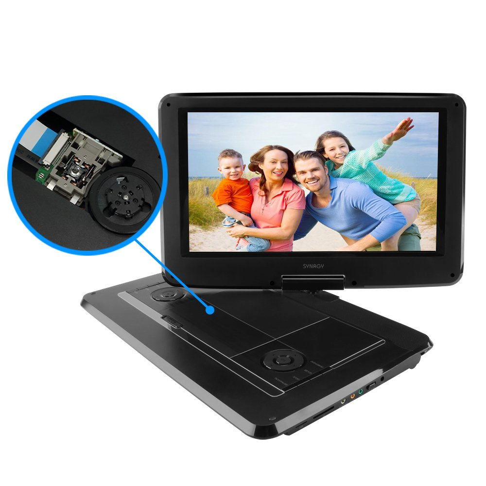SYNAGY 14'' Portable DVD Player CD Player with Swivel Screen Remote Control Rechargeable Battery Car Charger Wall Charger, Personal DVD Player