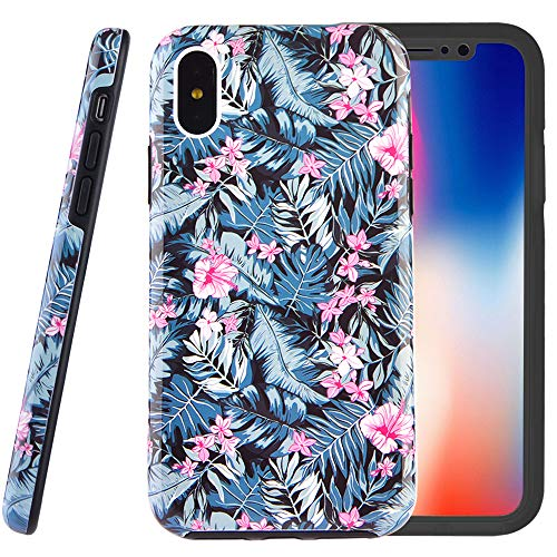 (Dimaka Case for iPhone X and XS, Double Layer Cute Floral Leef Flowers Hybrid Shockproof Hard PC Soft TPU High Impact Protective Case for iPhone X and XS (49, iPhone X and XS))