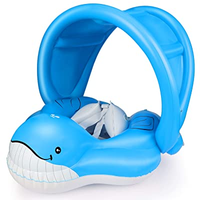 EKOOS Baby Swimming Float Ring with Canopy Blue Whale Inflatable Waist Float Ring Pool for Learning Swim Trainer for Age of 6-36 Months (L): Toys & Games