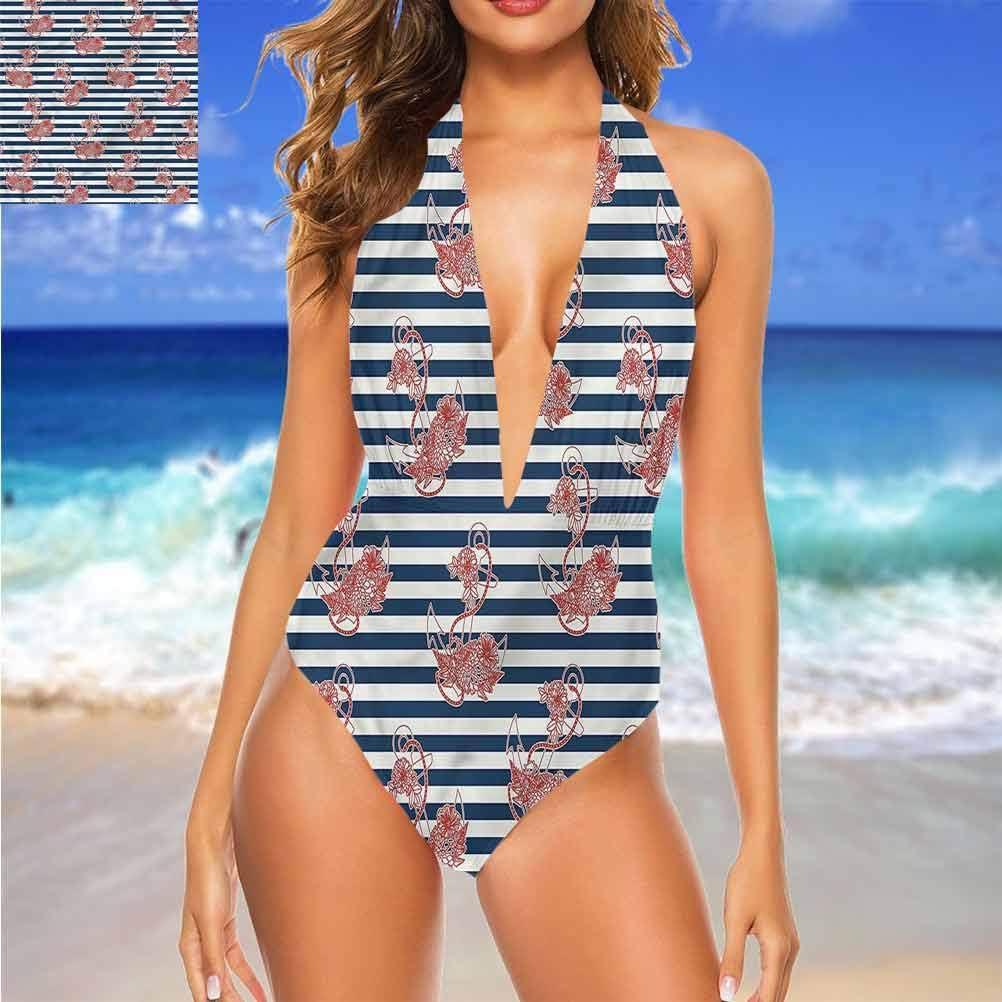 Ensemble de bikini Ancre, toile de fond rayée pour tous les types de corps Multicolore 01