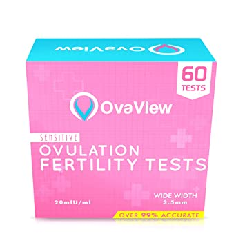 Pack of 60 - Ovaview Sensitive Ovulation/Fertility Tests Kit - 20mlU/ml  (Extra Wide Width)