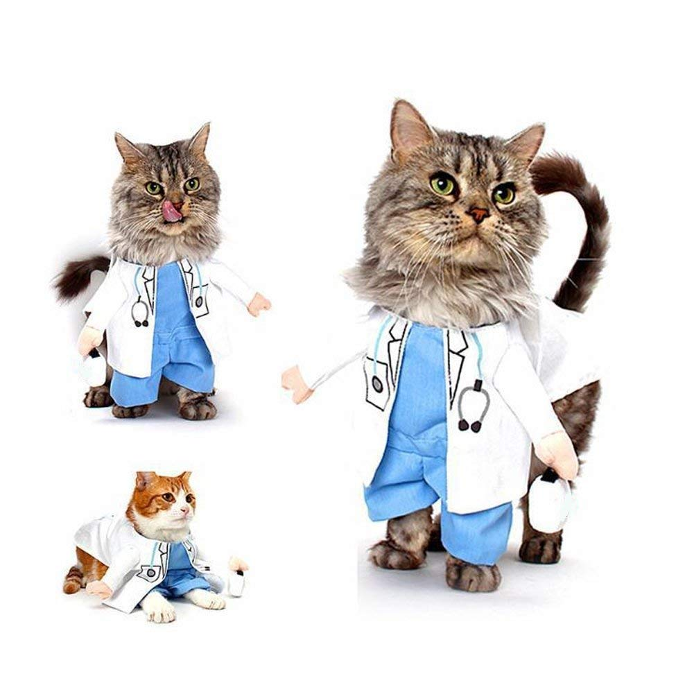 Small Funny Pet Dog Cat Doctor Costume Jeans Clothes Pet Doctor Clothing Halloween Apparel,S