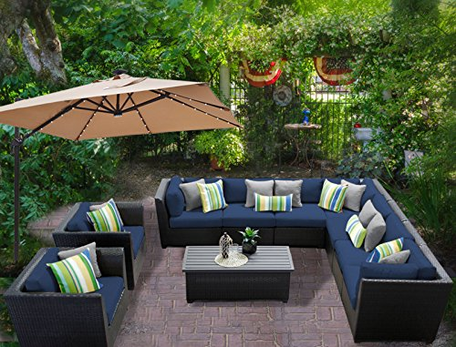 "TK Classics BARBADOS-10a-NAVY Barbados 10 Piece Outdoor Wicker Patio Furniture Set, Navy - FULLY ASSEMBLED - Seating area is ready to use and enjoy with family and friends Imported from China 35"" x 30"" x 35"" - patio-furniture, patio, conversation-sets - 61lAHlEjJxL -"