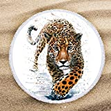 ARIGHTEX Snow Leopard Beach Towel Wild Animal Beach Towels for Boys Terry Beach Roundie Circle Yoga Mat with Fringe