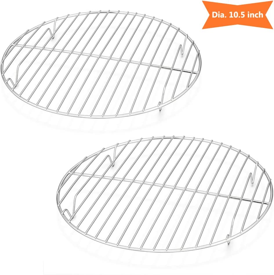 10½ Inch Round Cooling Cooking Racks, E-far Stainless Steel Round Steaming Baking Rack Set of 2, Multi-Purpose for Canning Air Fryer Instant Pot Pressure Cooker, Dishwasher Safe
