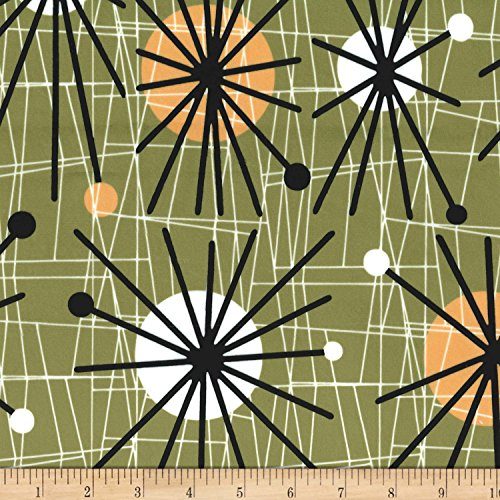 (Michael Miller Minky Atomic Olive Fabric by The Yard)