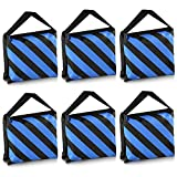 Neewer® 6 Pack Black/Blue Sand Bag Photography Studio Video Stage Film Saddlebag for Light Stands Boom Arms Tripods
