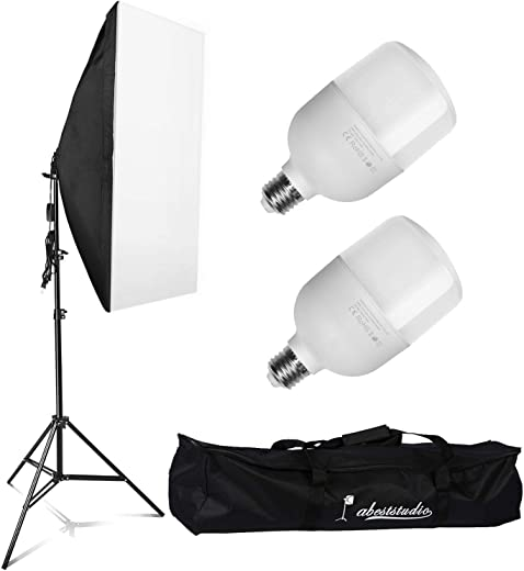 YISITONG Softbox Lighting Photo Studio Kit 2x 25W LED Continuous Light Bulb with Carrying Bag Photography Equipment for Photoshooting Video Portrait