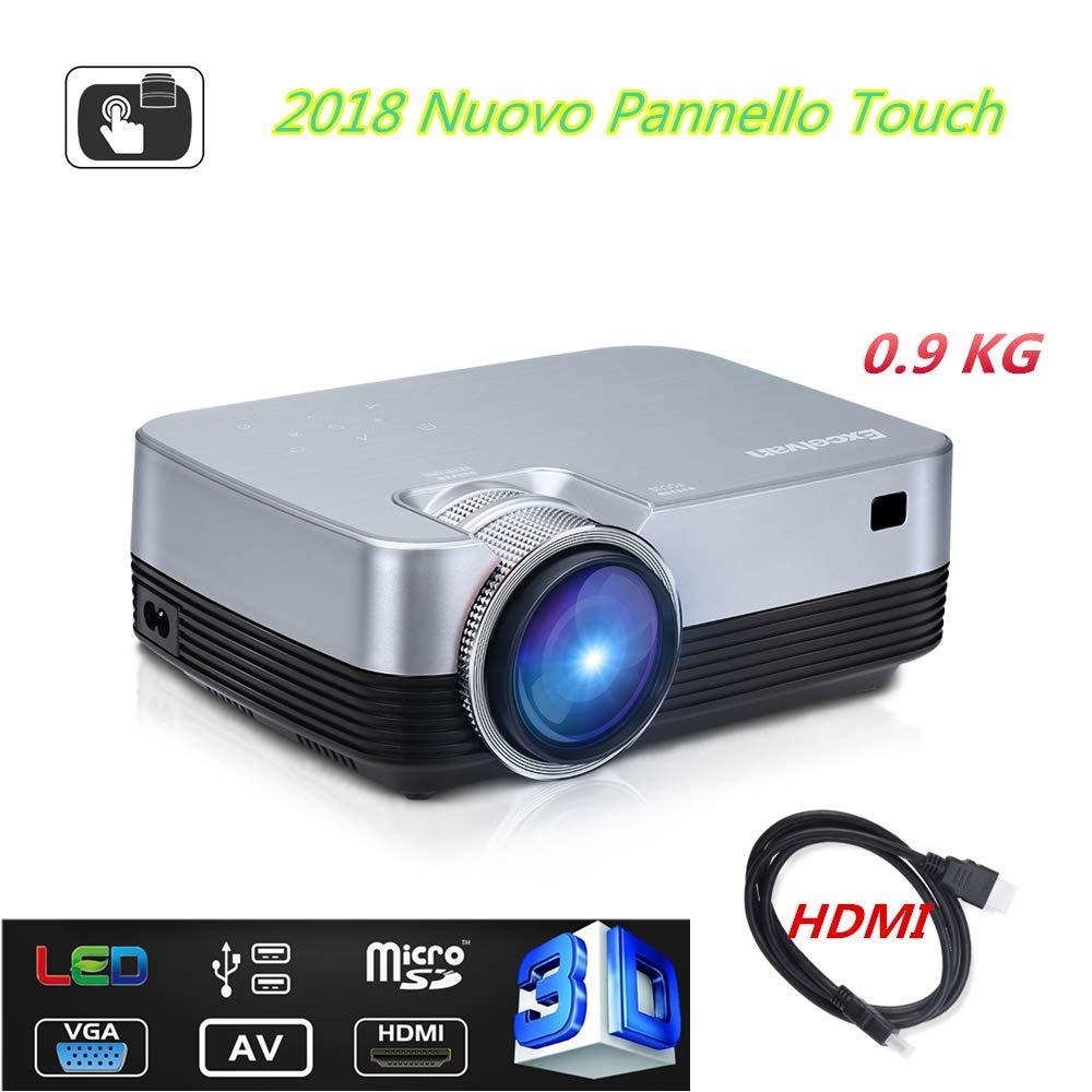 Proiettore Portatile Excelvan S1 DLP Mini Proiettore LED con HDMI per iPhone / Android / Giochi / Laptop / TV Box Videoproiettore 1080P Full HD Ideale per Guardare Film Partite e Giochi, Nero-Argento