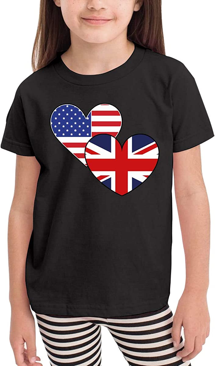 Unisex Toddler United Kingdom Great Britain American Heart Flags Organic T-Shirt Summer Clothes for 2-6 Years Old