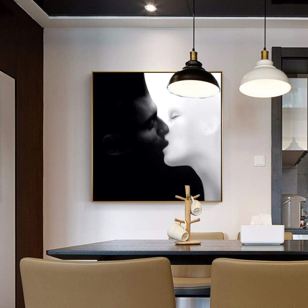 Pintura en lienzo en blanco y negro Arte de la pared Beso abstracto Carteles e impresiones Cuadros de pared para la decoración del hogar de la sala de estar A 40x40CM