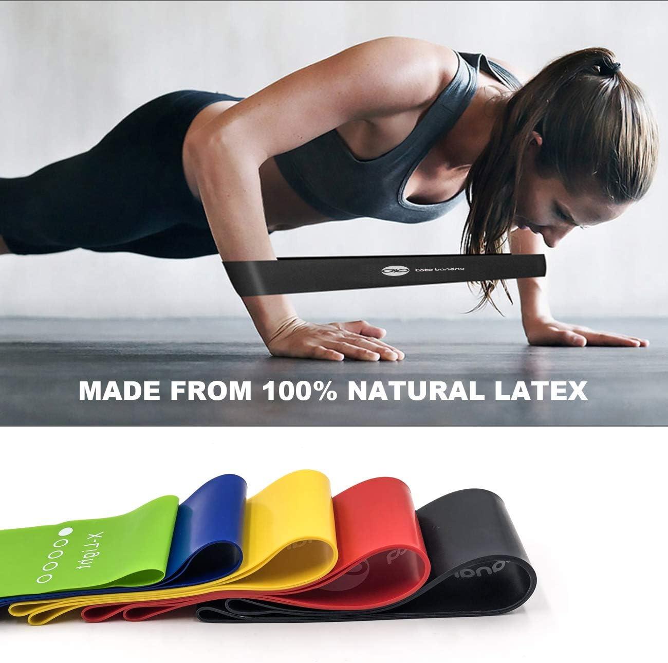 Set von 5 Fitnessger/äte zu Hause Widerstandsb/ändern f/ür Beine und Ges/ä/ß bobo banana Widerstandsb/änder Fitness-/Übungsb/änder mit 5 verschiedenen Widerstandsstufen /Übungsb/änder Yoga und Training.