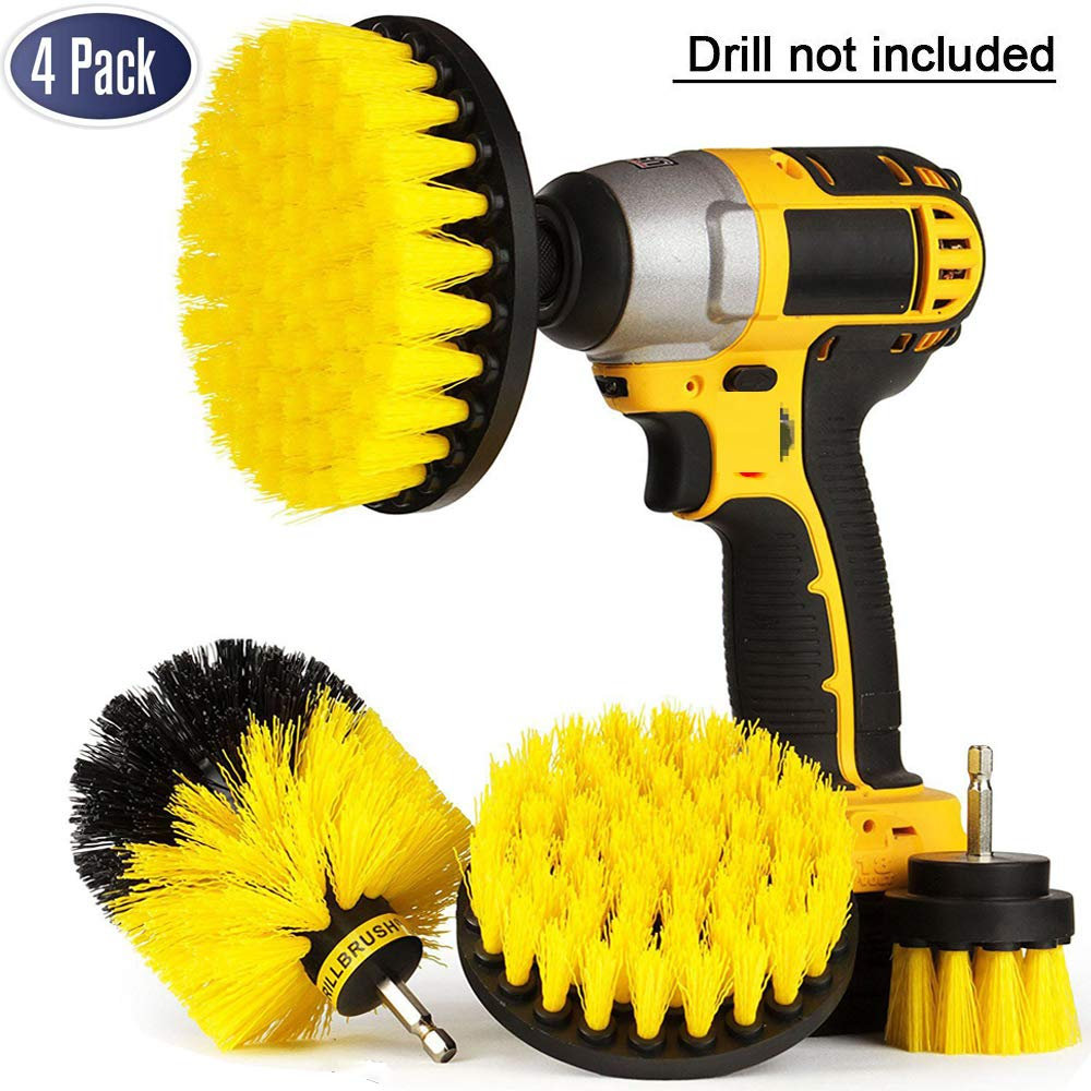 4 Pack Drill Brush Attachment Kit - Drill Brush Power Scrubber for Cleaning Bathroom, Pool Tile, Flooring, Brick, Ceramic, Marble & Grout All Purpose Drill Scrub Brush Foxcesd