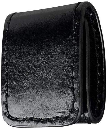 Boston Leather 5496-1-N Black Plain Double Wide Belt Keeper Nickel Snaps