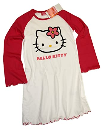 f6ef30f6b Hello Kitty - Chemise de nuit - Manches Longues - Femme Blanc white - pink -