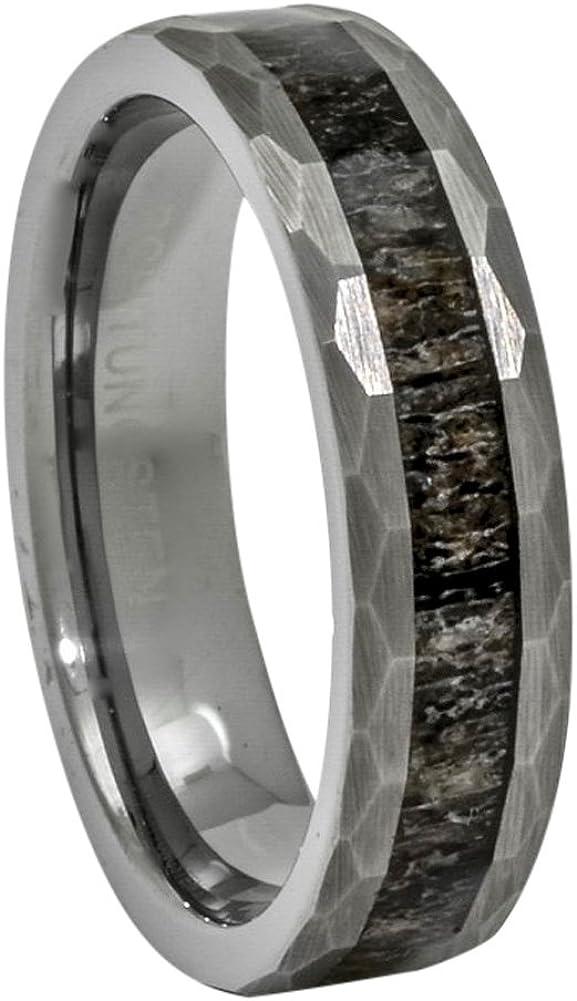 6mm Grooved Flat Pipe Cut Black Enamel Brushed /& Polished Finish Titanium Wedding Band