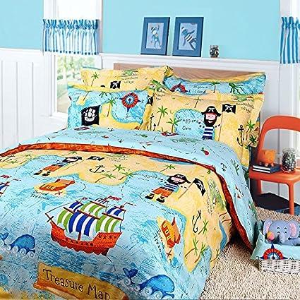 Norson Children's Cartoon Bedding Sets/Kids Bedding Set/Pirates Bedding Sets/Cotton Bedding Sets Boys/3pcs/4pcs/Twin/Queen (Queen) NSDPSDSD