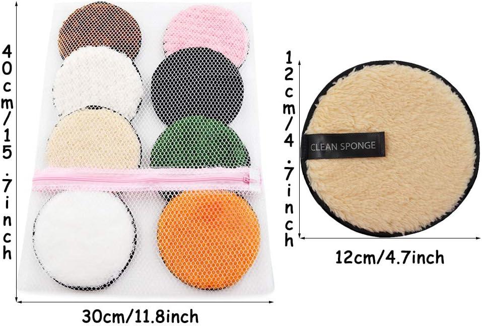 8Pcs Discos Desmaquillantes Reutilizables Almohadillas Desmaquillantes Facial Reutilizables Algod/ón Desmaquillantes Lavado y Ecologicos
