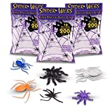 "Halloween Spider Webs & Webbing ""Made in the USA"" 3 Jumbo Super Stretch Packs + Assortment of 30 Black, Colorful, Glow In The Dark Spiders, Insects & Reptiles For Home Props Decoration and Decor"