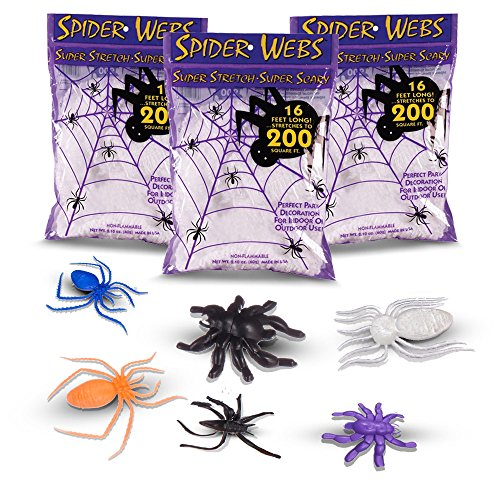 Halloween Spider Webs   Webbing  Made In The Usa  3 Jumbo Super Stretch Packs   Assortment Of 30 Black  Colorful  Glow In The Dark Spiders  Insects   Reptiles For Home Props Decoration And Decor