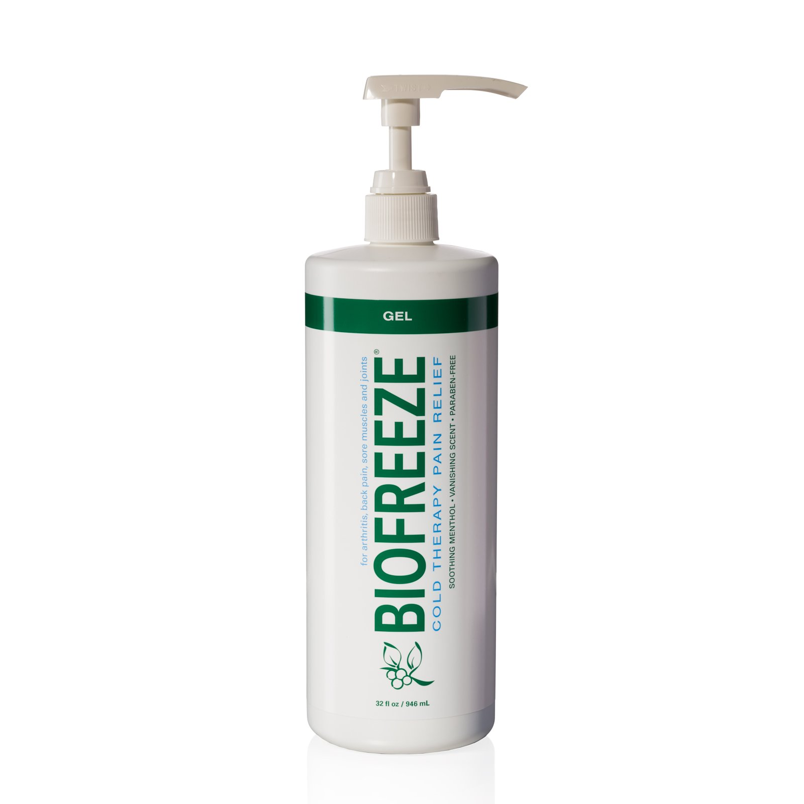 Biofreeze Pain Relief Gel for Arthritis, 32 oz. Bottle With Pump, Fast Acting & Long Lasting Cooling Pain Reliever for Muscle, Joint, & Back Pain, Cold Topical Analgesic with Original Green Formula