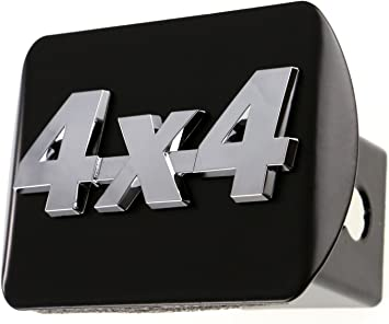4x4 3d Chrome Emblem on Black Trailer Metal Hitch Cover Fits 2 Receivers New