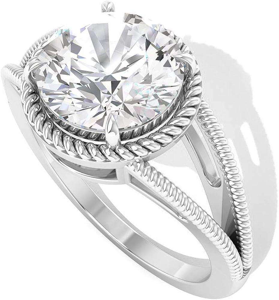Anillo de compromiso de novia de 2 ct con certificado IDCL de Moissanite trenzado, anillo de compromiso de Moissanite con claridad de color, anillo de compromiso de Moissanite, anillo de promesa