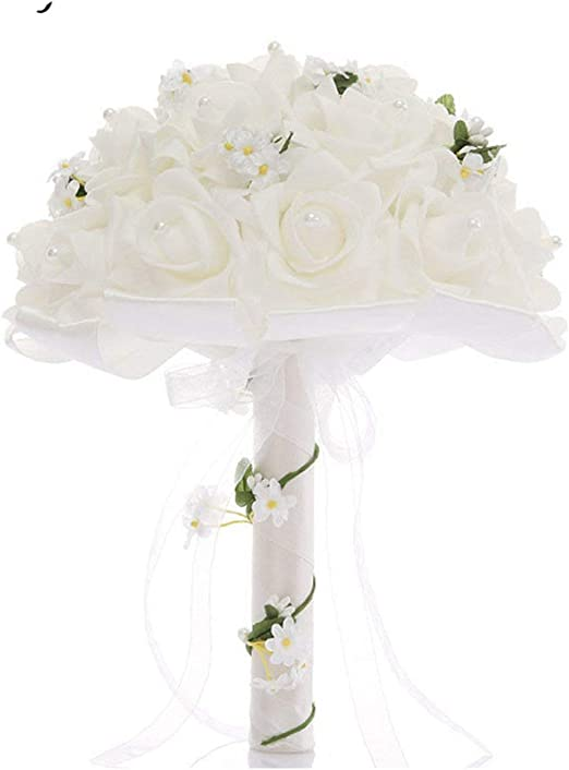 Amazon Com Foosheeonzi Wedding Bridal Bouquet Foam Roses White