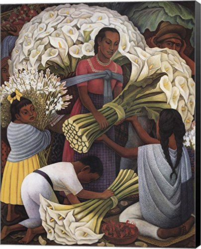 Flower Vendor by Diego Rivera Canvas Art Wall Picture, Museum Wrapped with Black Sides, 11 x 14 inches