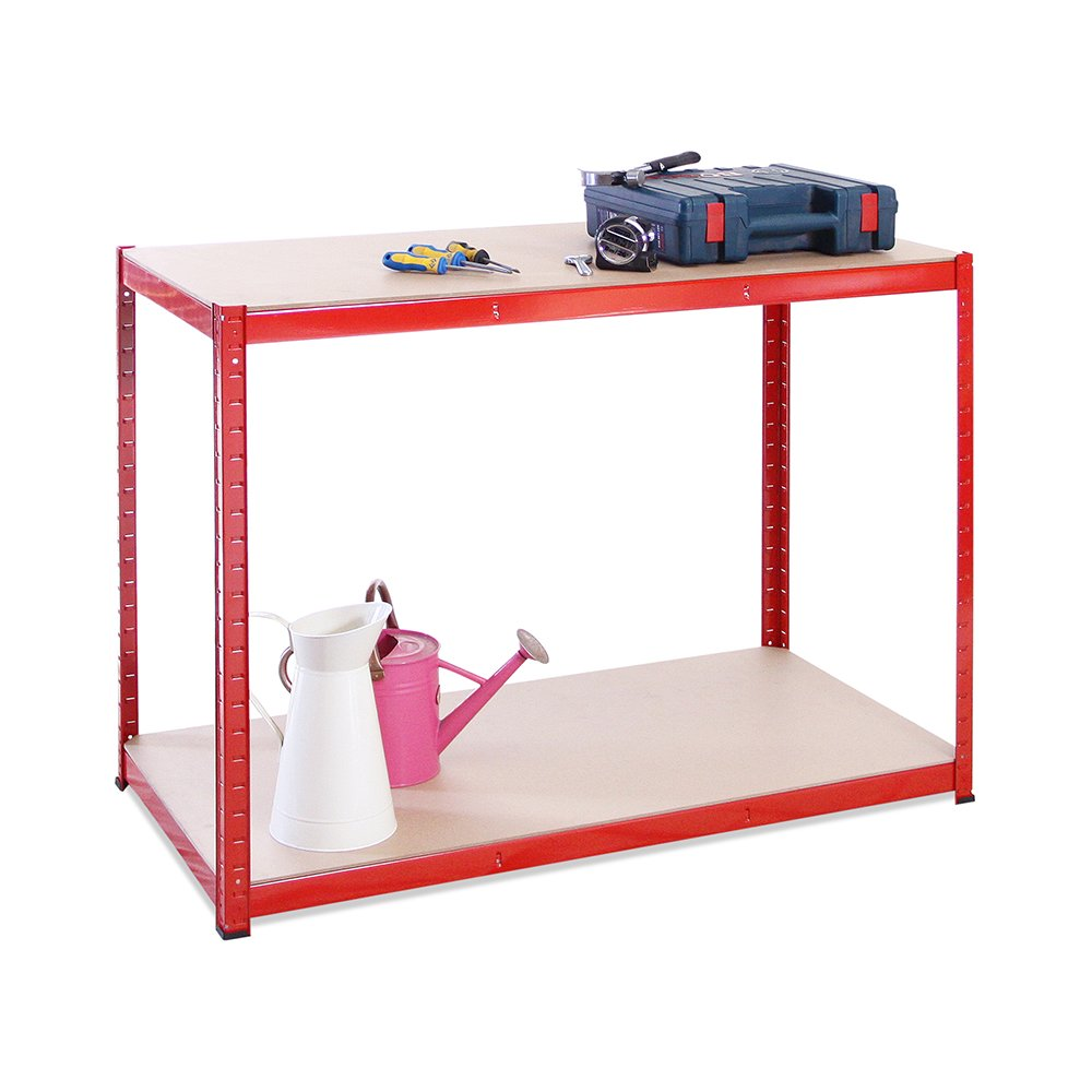 120cm Wide, 60cm deep, 90cm High, Red Garage Shed Racking Storage Workbench, 5 Year Warranty, 300KG Per Shelf Capacity G-Rack 0039