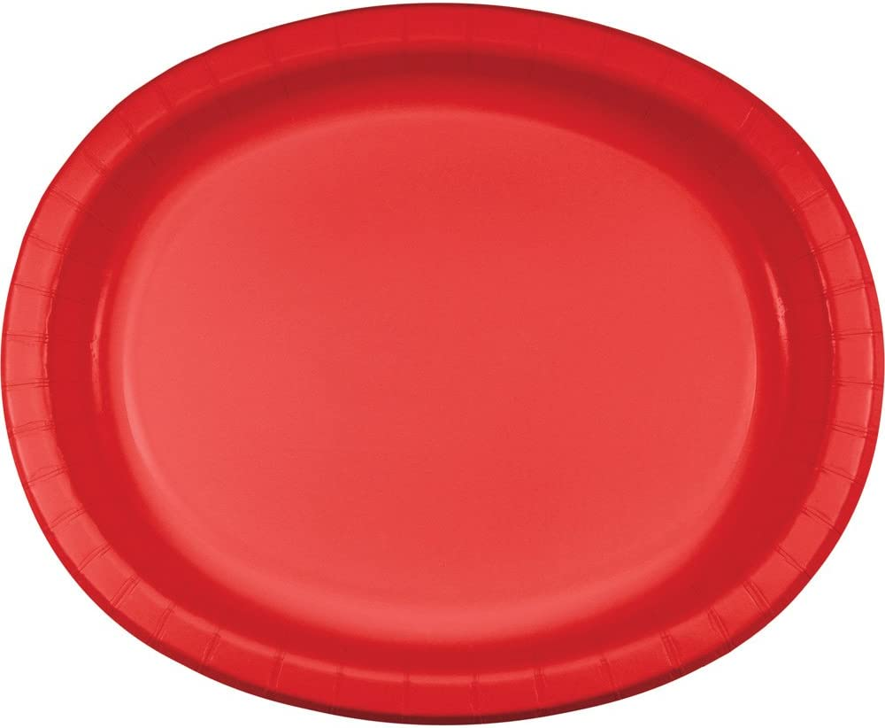Creative Converting 96 Count Touch of Color Oval Paper Platters, Classic Red