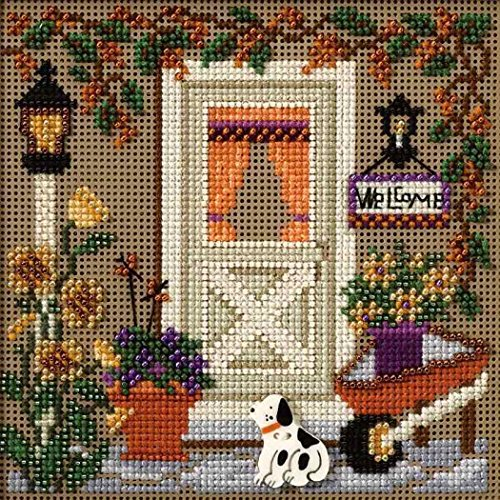 Country Welcome Beaded Counted Cross Stitch Kit Mill Hill Buttons Beads 2007 Autumn MH147206 - $17.49