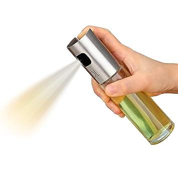 Uworth Aceite Pulverizador Botella Vidrio Dispensador de aceite de oliva y Vinagre para cocinar/Ensalada